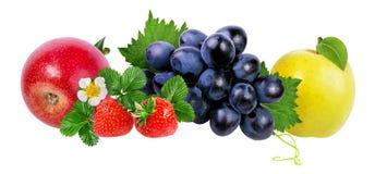 Accumulazione della frutta isolata su bianco Fotografie Stock