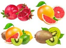 Accumulazione della frutta isolata su bianco Fotografie Stock Libere da Diritti