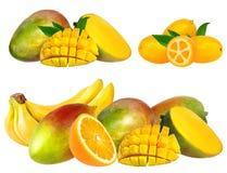 Accumulazione della frutta isolata su bianco Immagini Stock Libere da Diritti