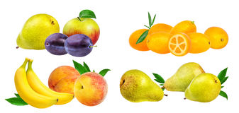 Accumulazione della frutta isolata su bianco Fotografia Stock Libera da Diritti