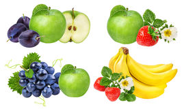 Accumulazione della frutta isolata su bianco Fotografia Stock