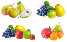 Accumulazione della frutta isolata su bianco Immagine Stock