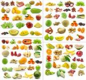 Accumulazione della frutta su priorità bassa bianca Fotografia Stock Libera da Diritti