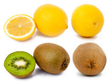 Accumulazione della frutta su priorità bassa bianca Fotografia Stock