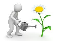 Accumulazione della natura - giardiniere con la latta di innaffiatura Immagine Stock Libera da Diritti
