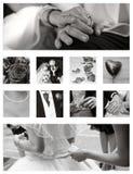 Accumulazione della priorità bassa del collage di cerimonia nuziale Fotografie Stock