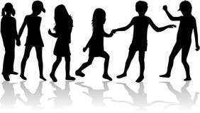 Accumulazione della siluetta dei bambini Immagine Stock Libera da Diritti