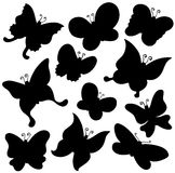 Accumulazione della siluetta delle farfalle Immagini Stock Libere da Diritti