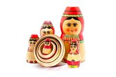 Accumulazione delle bambole russe antiche Immagini Stock