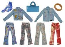 Accumulazione delle blue jeans Immagine Stock