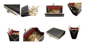 Accumulazione delle borse e delle monete su un bianco Fotografia Stock Libera da Diritti