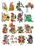 Accumulazione delle divinità Mayan isolate su bianco Fotografia Stock Libera da Diritti