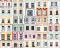 Accumulazione delle finestre da Telc, Repubblica ceca Fotografie Stock Libere da Diritti