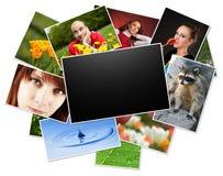 Accumulazione delle foto con il blocco per grafici in bianco Fotografie Stock