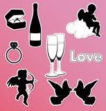Accumulazione delle icone del biglietto di S. Valentino di vettore Fotografie Stock Libere da Diritti