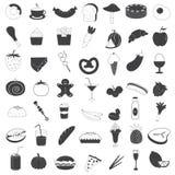 Accumulazione delle icone della bevanda e dell'alimento Immagine Stock Libera da Diritti