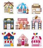 Accumulazione delle icone della casa/negozio del fumetto Fotografie Stock