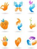 Accumulazione delle icone delle mani Immagini Stock