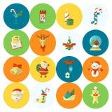 Accumulazione delle icone di inverno e di natale royalty illustrazione gratis