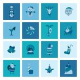 Accumulazione delle icone di inverno e di natale Fotografia Stock