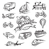 Accumulazione delle icone di trasporto Fotografie Stock