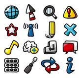 Accumulazione delle icone di Web di tiraggio della mano Fotografie Stock Libere da Diritti
