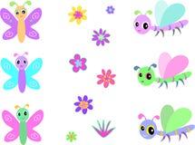 Accumulazione delle libellule, delle farfalle e della F del bambino Fotografia Stock