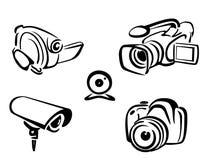 Accumulazione delle macchine fotografiche della foto e del video Fotografia Stock Libera da Diritti