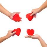 Accumulazione delle mani con cuore Fotografia Stock