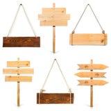 Accumulazione delle schede di legno in bianco del segno Fotografia Stock