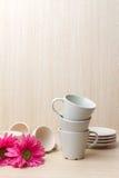 Accumulazione delle tazze di caffè Fotografia Stock Libera da Diritti