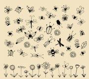 Accumulazione di abbozzo dell'insetto per il vostro disegno Immagini Stock Libere da Diritti