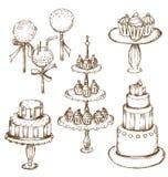 Accumulazione di belle torte Immagine Stock Libera da Diritti