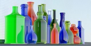 Accumulazione di bottiglie di vetro variopinta illustrazione di stock