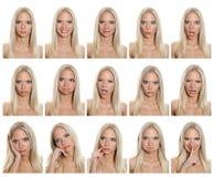 Accumulazione di espressioni della donna Immagini Stock