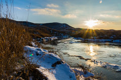 Accumulazione di ghiaccio del fiume del francese Immagine Stock