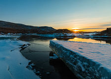 Accumulazione di ghiaccio del fiume del francese Fotografia Stock Libera da Diritti