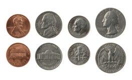 Accumulazione di monete degli Stati Uniti isolata su bianco Fotografia Stock Libera da Diritti