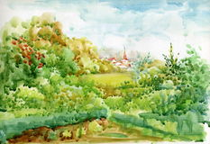 Accumulazione di paesaggio dell'acquerello Fotografia Stock