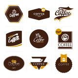 Accumulazione di retro contrassegni designati del caffè. Fotografia Stock Libera da Diritti