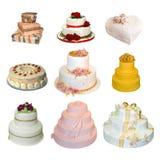 Accumulazione di vari tipi di torte di cerimonia nuziale Fotografia Stock