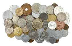 Accumulazione di varie vecchie monete Fotografia Stock