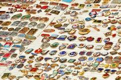 Accumulazione di vecchie medaglie militari Fotografia Stock Libera da Diritti