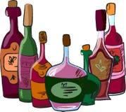 Accumulazione di vettore delle bottiglie di vino Immagini Stock