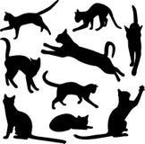 Accumulazione di vettore delle siluette del gatto Fotografie Stock Libere da Diritti