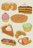 Accumulazione disegnata a mano del dessert Immagine Stock Libera da Diritti