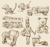 Accumulazione disegnata a mano giocattolo-originale antica Fotografie Stock Libere da Diritti