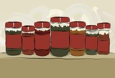 Accumulazione disegnata a mano sudicia delle bottiglie della spezia Immagine Stock