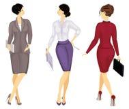 accumulazione Donna di affari che tiene un dispositivo di piegatura Bella ragazza in un vestito rigoroso ? una donna in scarpe de illustrazione di stock