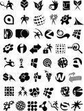 Accumulazione enorme delle icone e dei marchi in bianco e nero illustrazione vettoriale
